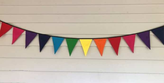 Bunting - Rainbow Panels Yellow Orange Red Pink Purple Navy Blue Aqua Green