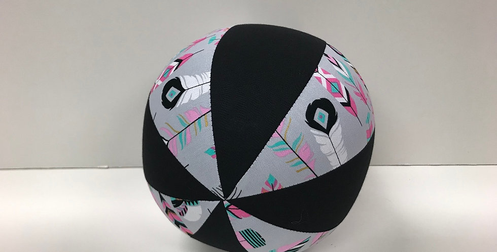 Balloon Ball Medium - Feathers on Grey with Black Panels