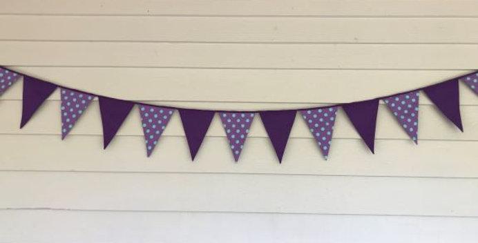 Bunting - Purple Panels with Purple Aqua Dots