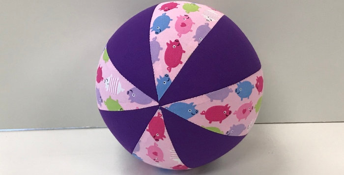 Balloon Ball Small - Pigs on Pink with Purple Panels