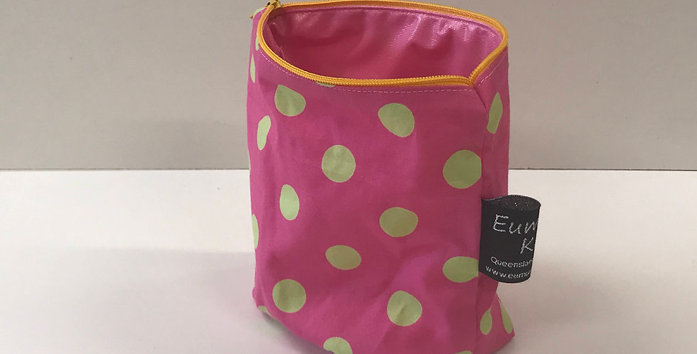 Reusable Food Safe Lunch / Snack Bags - Pink with Lime Dots - Pink Lining