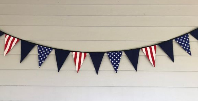 Bunting - Red White Stripes - Blue White Dots - Navy Panels