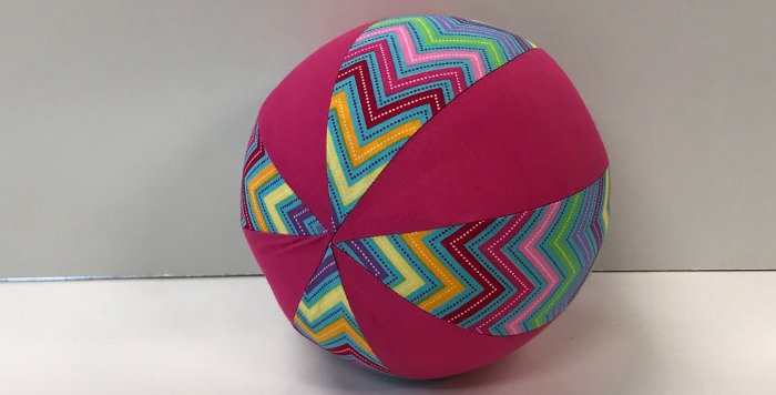 Balloon Ball Small - Coloured Chevrons on Blue with Hot Pink Panels