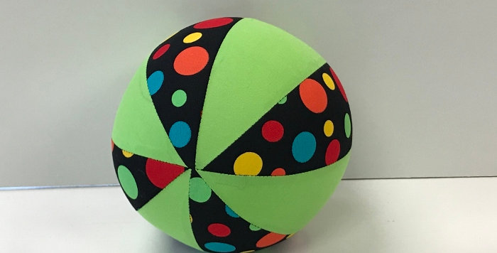 Balloon Ball Small - Multi Coloured Dots on Black with Lime Green Panels