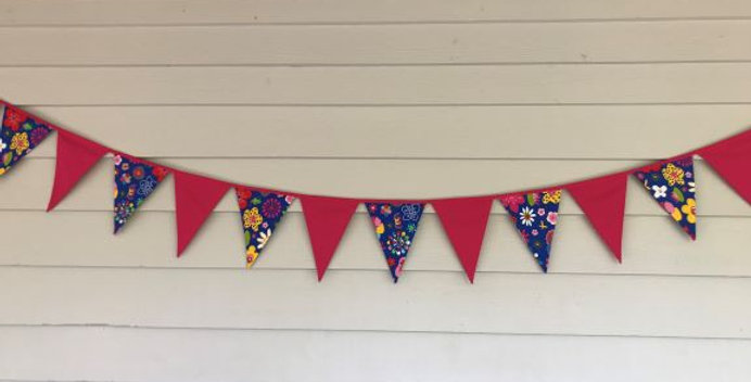 Bunting - Pink Panels with Blue Flower Bug Print