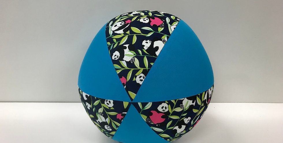Balloon Ball - Panda Bears on Navy with Aqua Panels