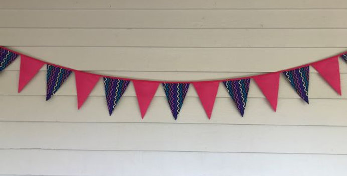 Bunting - Pink Panels with Purple Coloured Squiggles