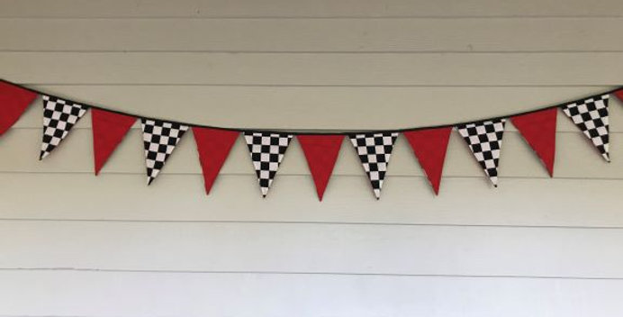 Bunting - Red Panels Black and White Check