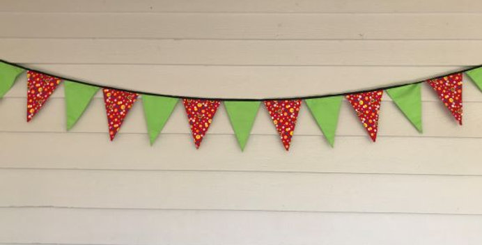 Bunting - Lime Green with Red Multi Coloured Dots
