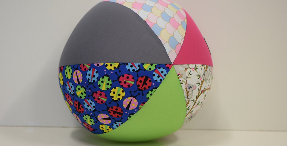 Balloon Ball Large - Koalas Bugs Scales with Pink Lime Grey Panels