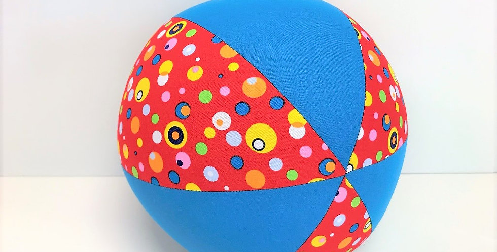 Balloon Ball - Red Multi Coloured Dots Aqua Panels
