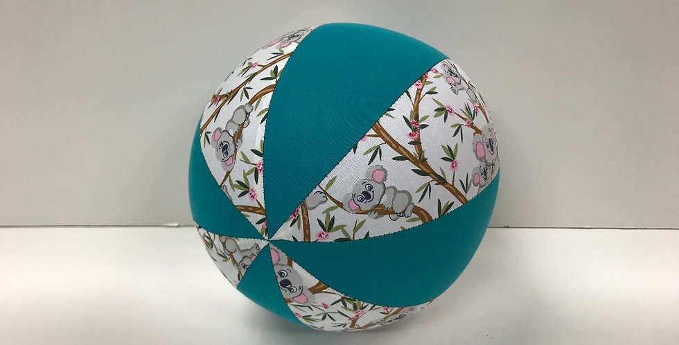 Balloon Ball Medium - Koala Bears on White with Teal Panels