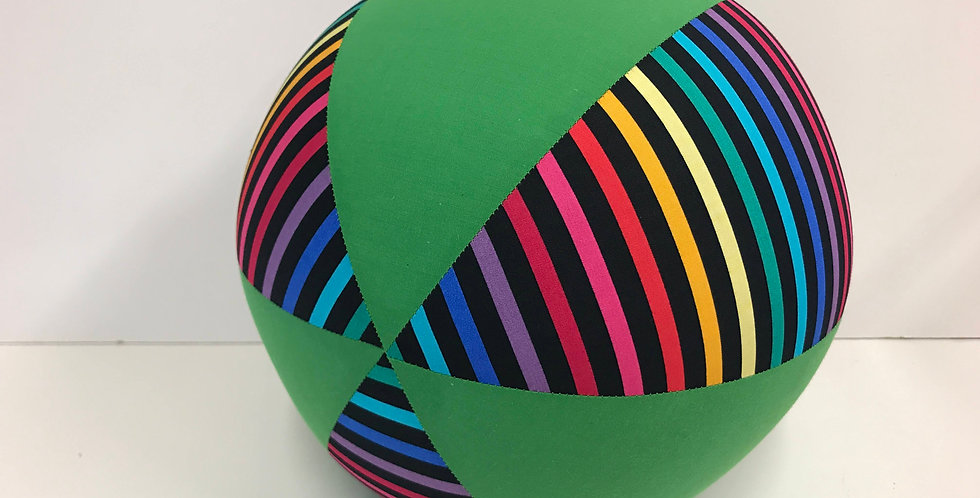 Balloon Ball - Rainbow Stripes on Black - Apple Green Panels