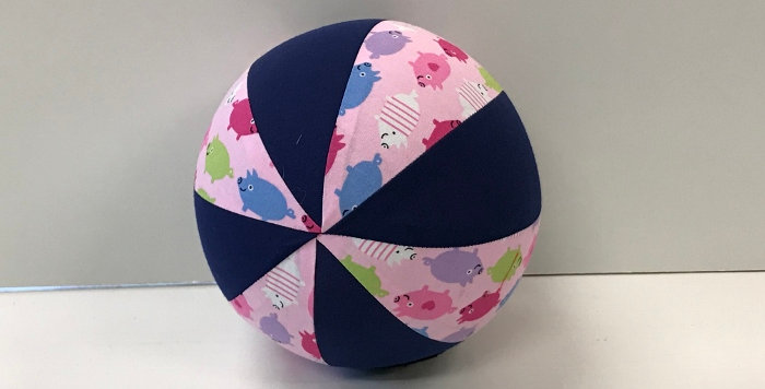 Balloon Ball Small - Pigs on Pink with Navy Panels
