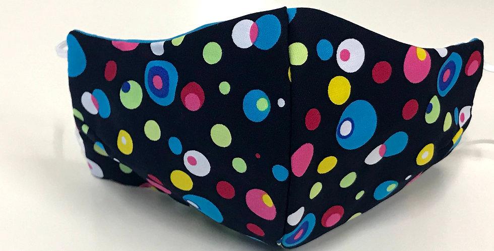 Face Mask - 4 Layers - Navy Small Coloured Dots - Aqua