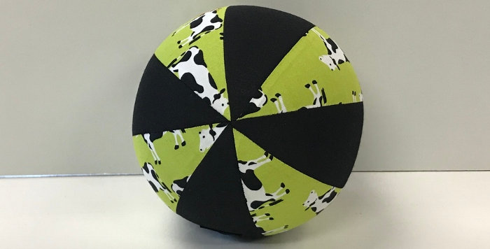 Balloon Ball Small - Cows on Green with Black Panels