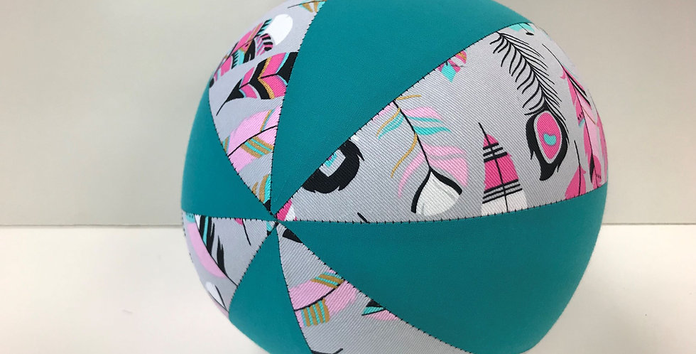 Balloon Ball Medium - Feathers on Grey with Teal Panels