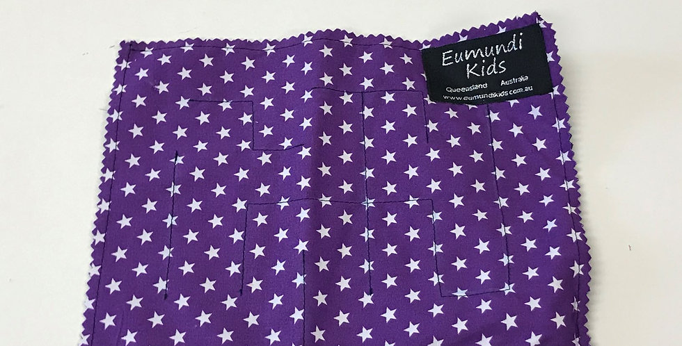 Marble Maze - Purple with White Stars with Navy Backing