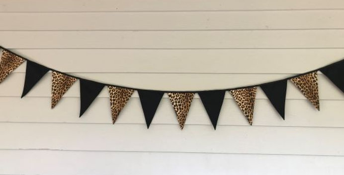 Bunting - Black with Leopard Print Panels