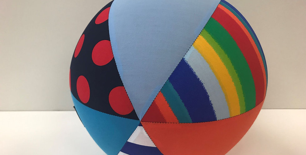 Balloon Ball Large - Rainbow Dots Stripes with Orange Aqua Light Blue Panels