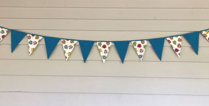 Bunting - Aqua - White with Coloured Bugs