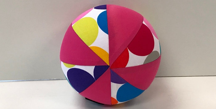 Balloon Ball Small - Large Coloured Dots on White with Hot Pink Panels