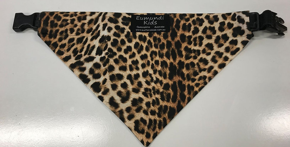 Dog Bandana Large - Leopard Print with Black Backing