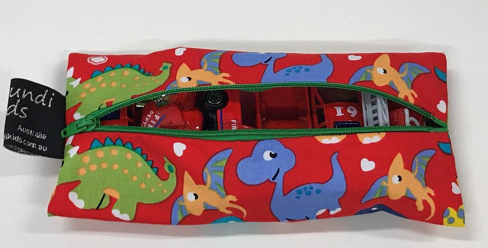 Zipper Pouch - Red Dinosaurs Blue Zip