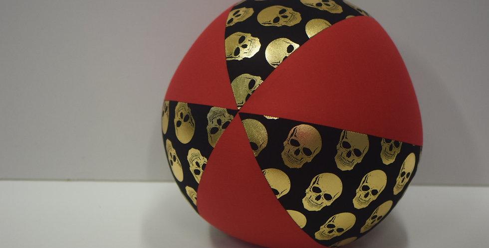 Balloon Ball - Metallic Gold Skulls Black -  Red Panels