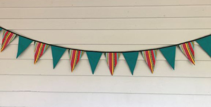 Bunting - Teal Panels with Bright Aztec Print