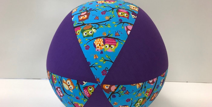 Balloon Ball - Owls on Blue with Purple Panels