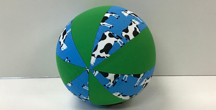 Balloon Ball Small - Cows on Blue with Apple Green Panels