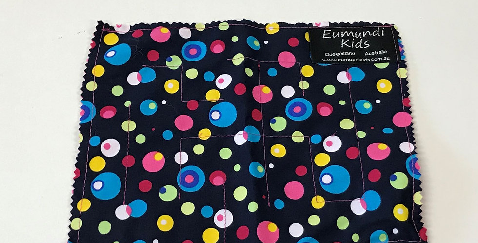 Marble Maze - Multi Coloured Dots on Navy with Hot Pink Backing