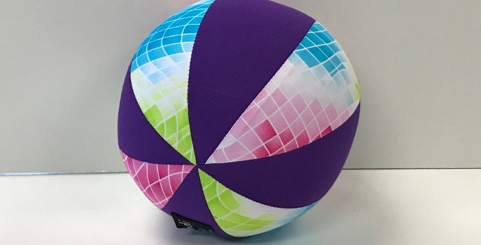 Balloon Ball Small - Geometric Print with Purple Panels