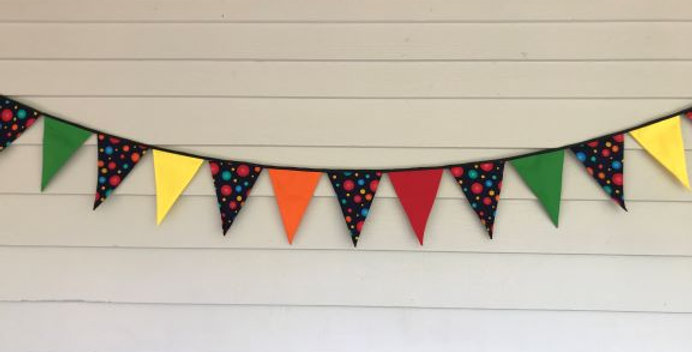 Bunting - Dark Blue Multi Coloured Dots - Yellow Orange Red Green Panels