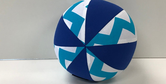 Balloon Ball Small - Blue White Chevrons with Blue Panels