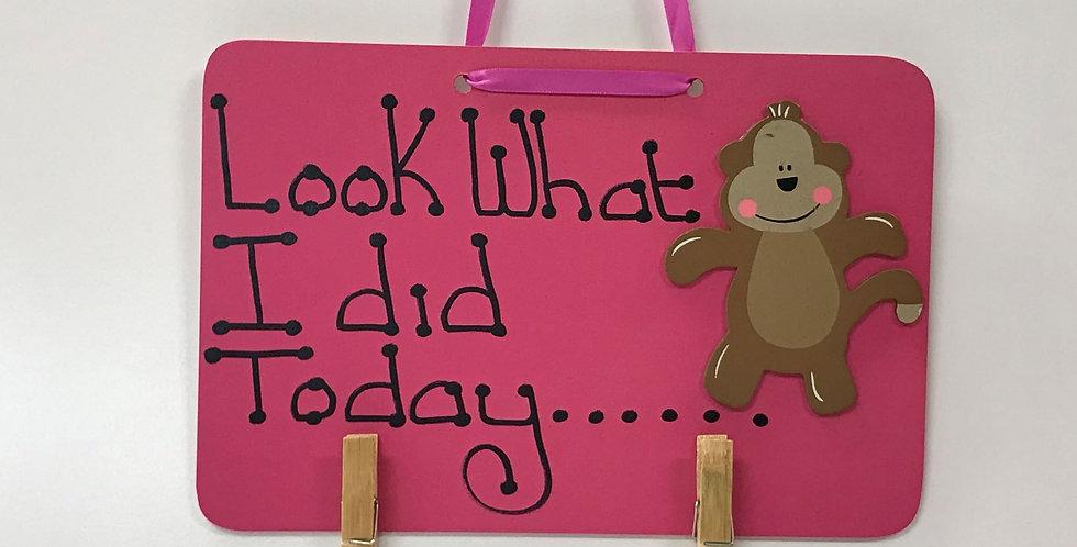 Monkey Pink Cheeks - Pink Board - Pink Ribbon