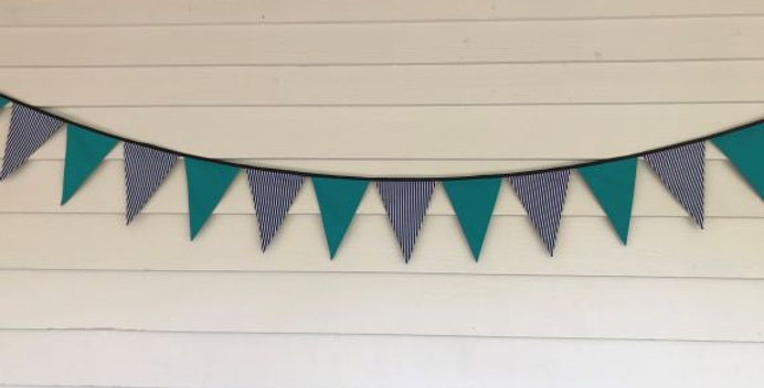 Bunting - Teal Panels with Navy Blue White Stripes