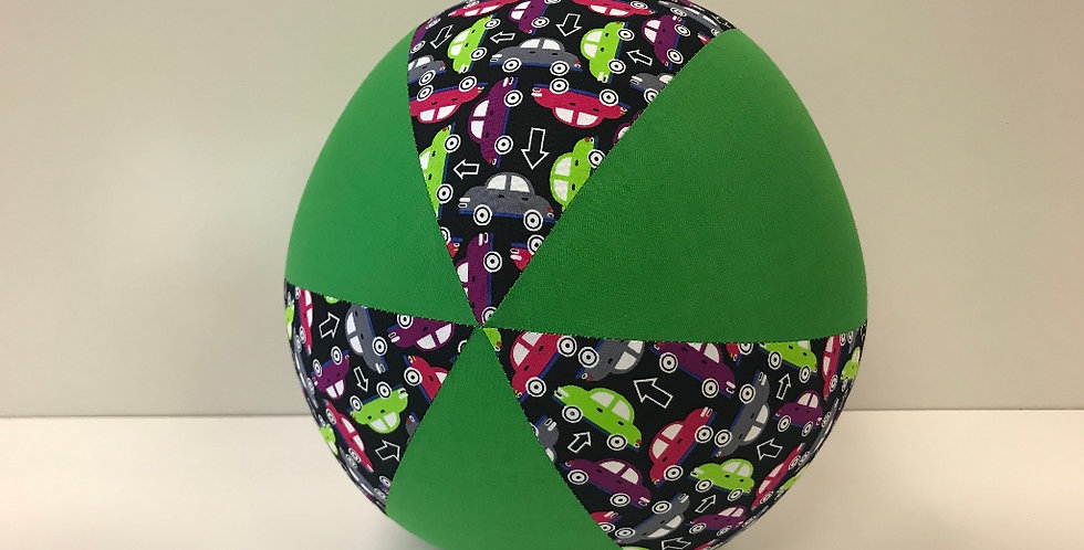 Balloon Ball - Mixed Coloured Cars on Black with Apple Green Panels