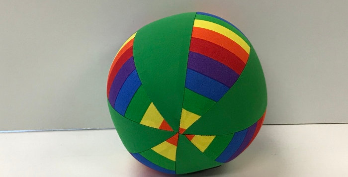 Balloon Ball Small - Bright Rainbow Stripes with Apple Green Panels