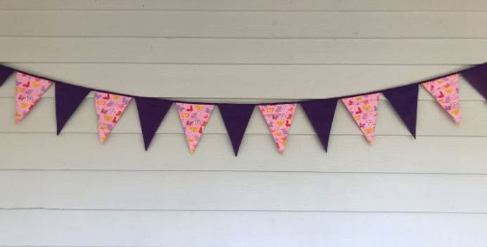 Bunting - Purple Panels with Pink Butterflies