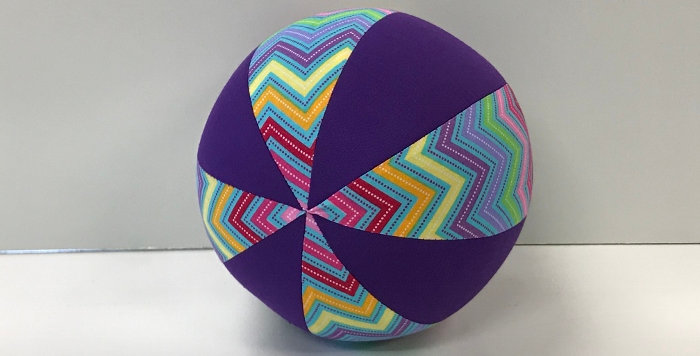 Balloon Ball Small - Coloured Chevrons on Blue with Purple Panels