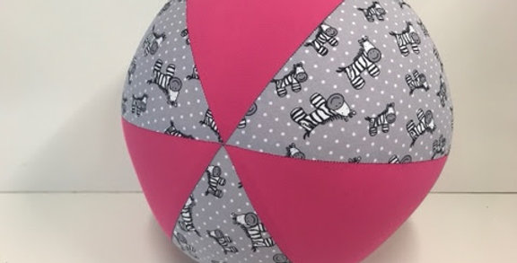 Balloon Ball - Zebras on Grey with Pink Panels