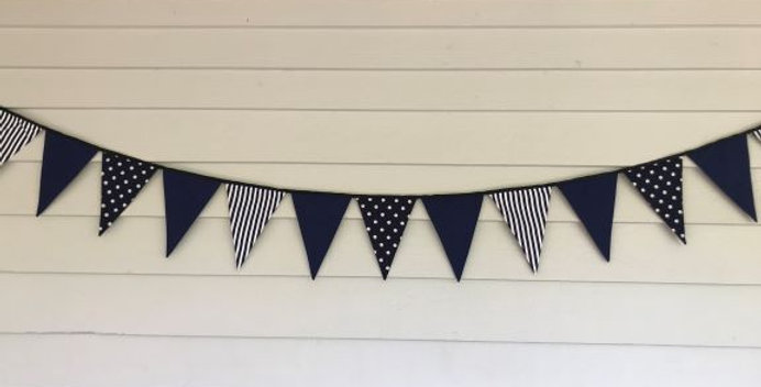 Bunting - Navy White Stripes - Navy White Dots - Navy Panels