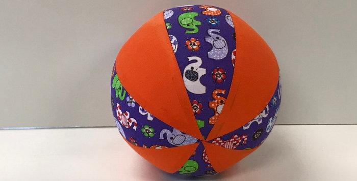 Balloon Ball Small - Elephants on Purple with Orange Panels