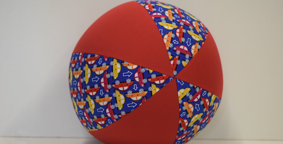 Balloon Ball - Mixed Coloured Cars on Blue with Red Panels
