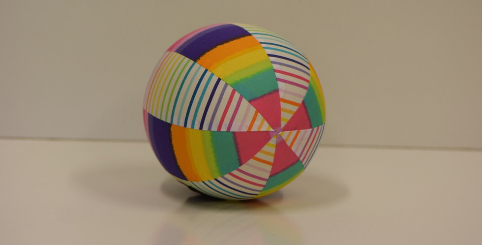 Balloon Ball Small - White Rainbow Stripes with rainbow panels