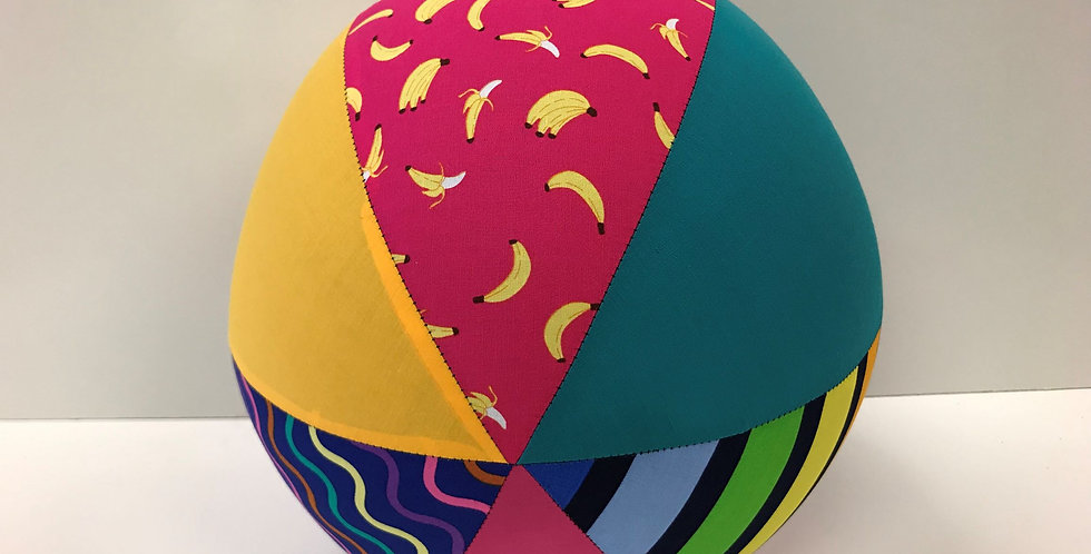 Balloon Ball Large - Bananas Rainbow Squiggles with Yellow Teal Pink Panels