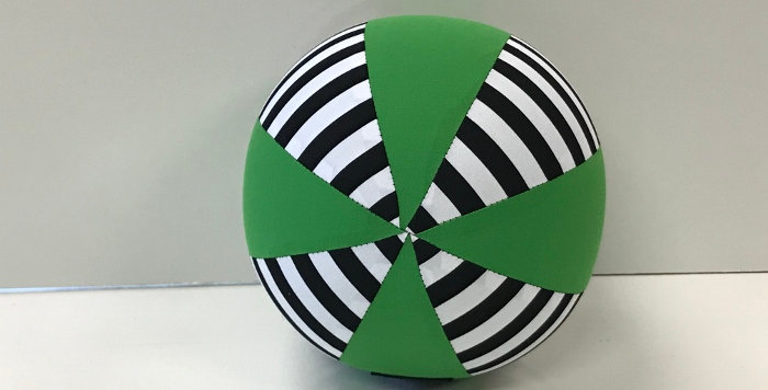 Balloon Ball Small - Black White Stripes with Apple Green Panels