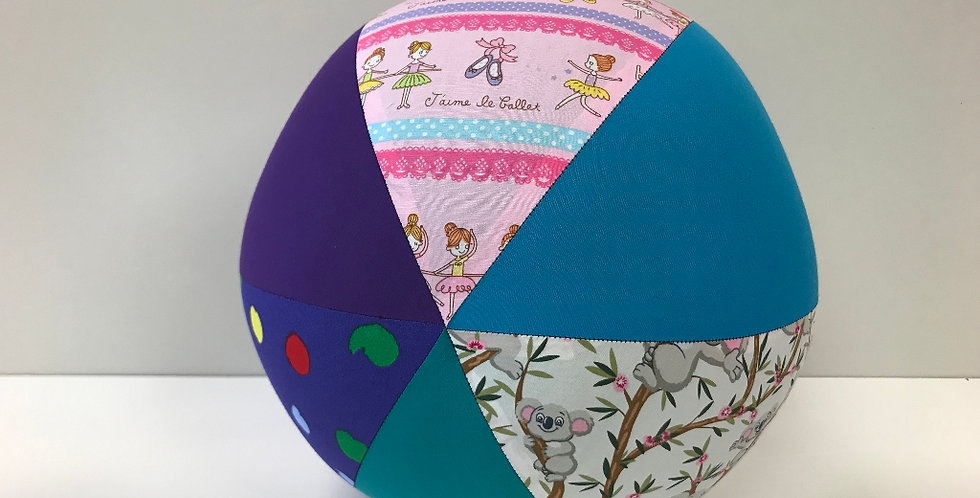 Balloon Ball Large - Ballerinas Koalas Dots with Aqua Purple Teal Panels